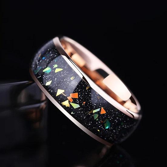 Saya Tungsten ring med farget krystall-spekk