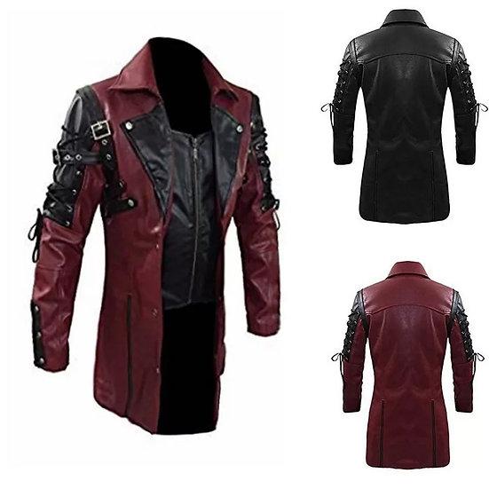 Lang steampunk-jakke med glidelås