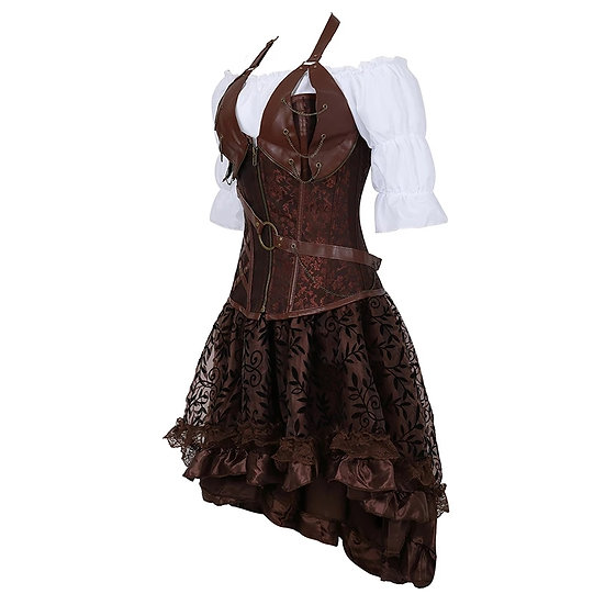 Steampunk koresett-sett med skjole og skjorte-overdel