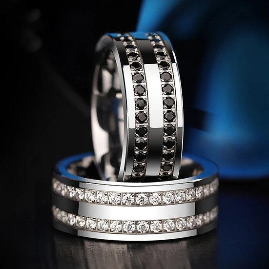 Sølv Saya Tungsten ring med to rader blanke eller svarte sirkon-steiner