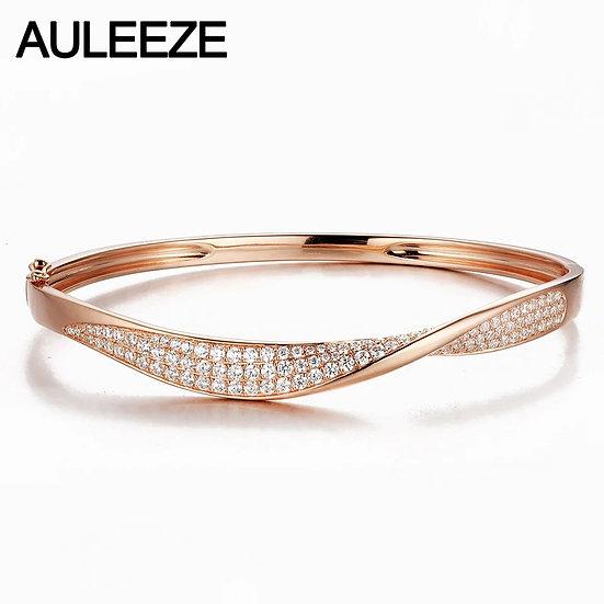 24K gull-armbånd med tvist og 3 rader 1.15ct diamant