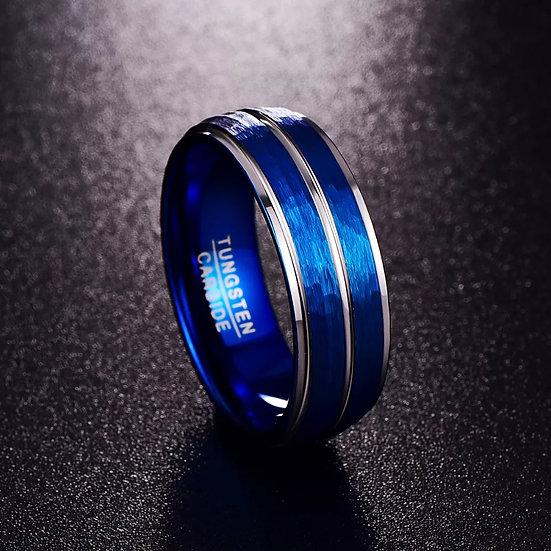 Sølv-farget Tungsten-ring med to blå linjer