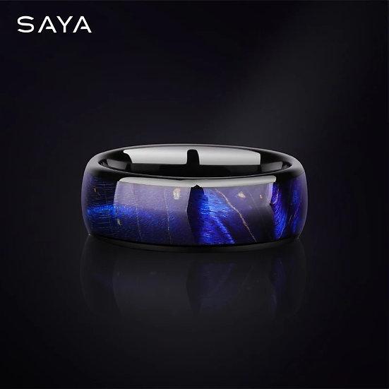 Saya Tungsten ring med blå og lille galakse-sky