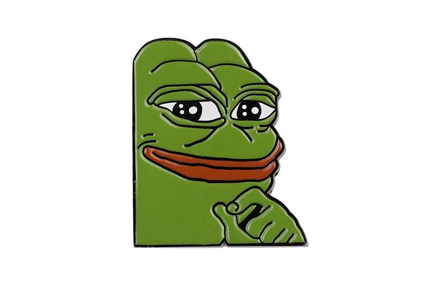 Fornøyd Pepe meme-pin