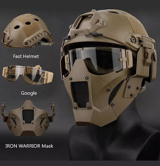 Hjelm og maske i metall