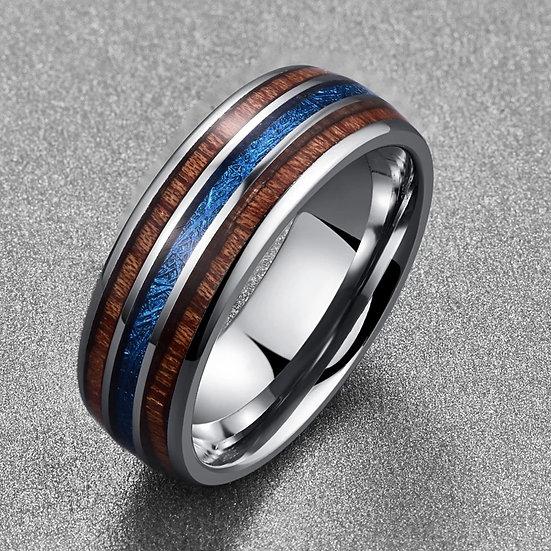Tungsten Haiwaii Koa ring med linjer av tre