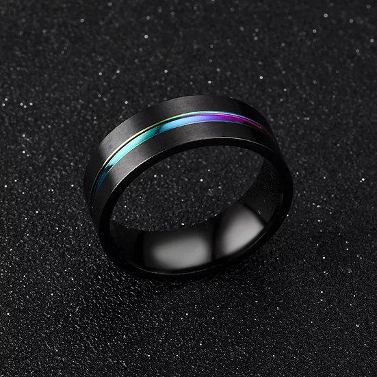Svart stål-ring med farge-linje