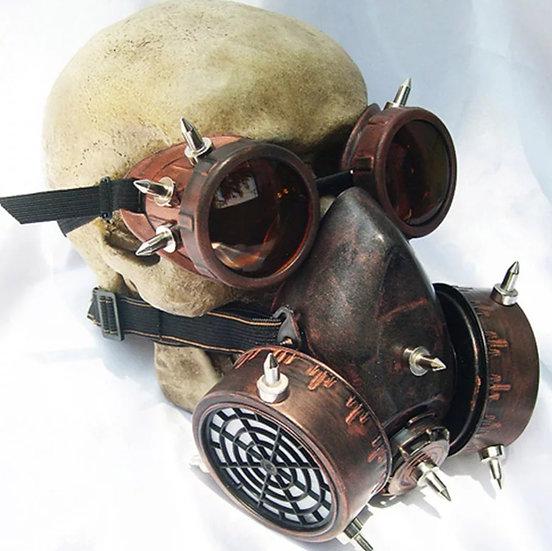 Rusten steampunk vernemaske med briller