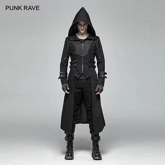 goth-jakke med hette og stropper på armene