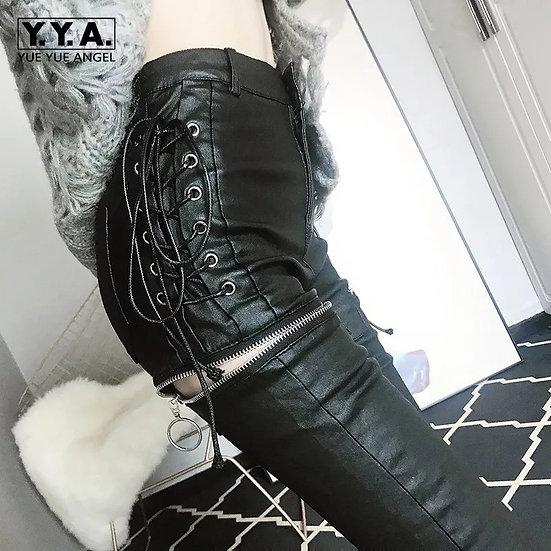 Goth-bukser med glidelås-åpning på lårene