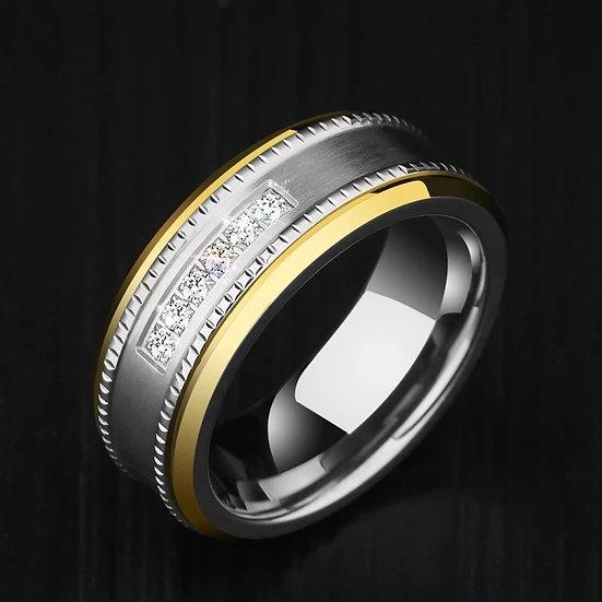 87% Tungsten ring med sirkon krystall-rad