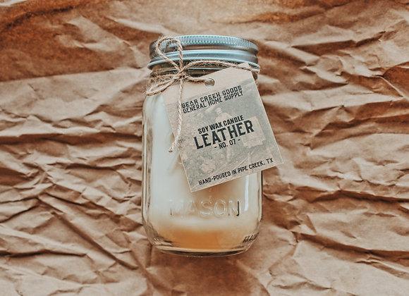 Leather Candle 16 oz Jar
