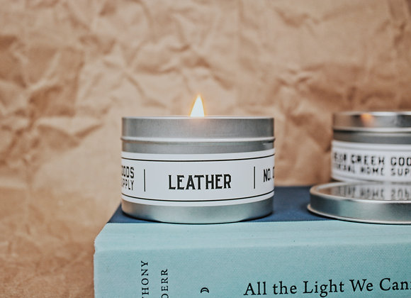 Leather Candle 8 oz Tin