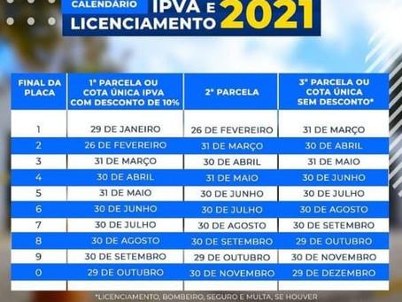 Detran-PB divulga calendário do licenciamento de veículos para 2021