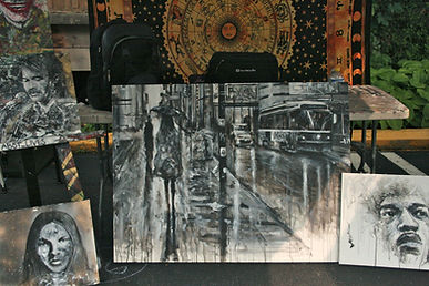An arrangment of black and white paintings by Hamilton artist K Abst J