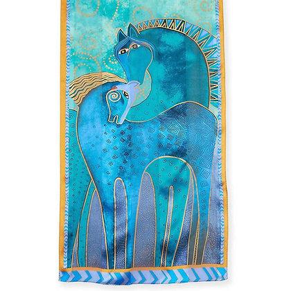 Teal Horses silk scarf