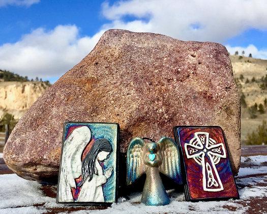 Raku Wall Art and Angel Ornament Gift Package