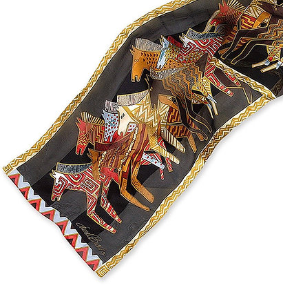Native Horses Black Silk Scarf LBS141