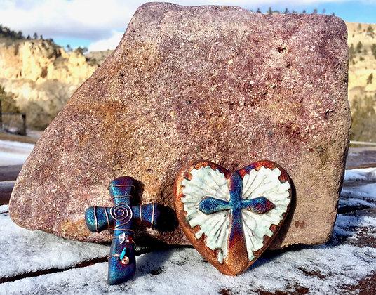 Raku Heart and Mini Cross Gift Package