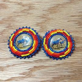 Beaded Button Earrings