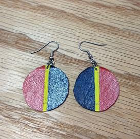 Hand Painted Earrings - Round