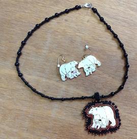 Polar Bear Beadwork Necklace and Earrings Set