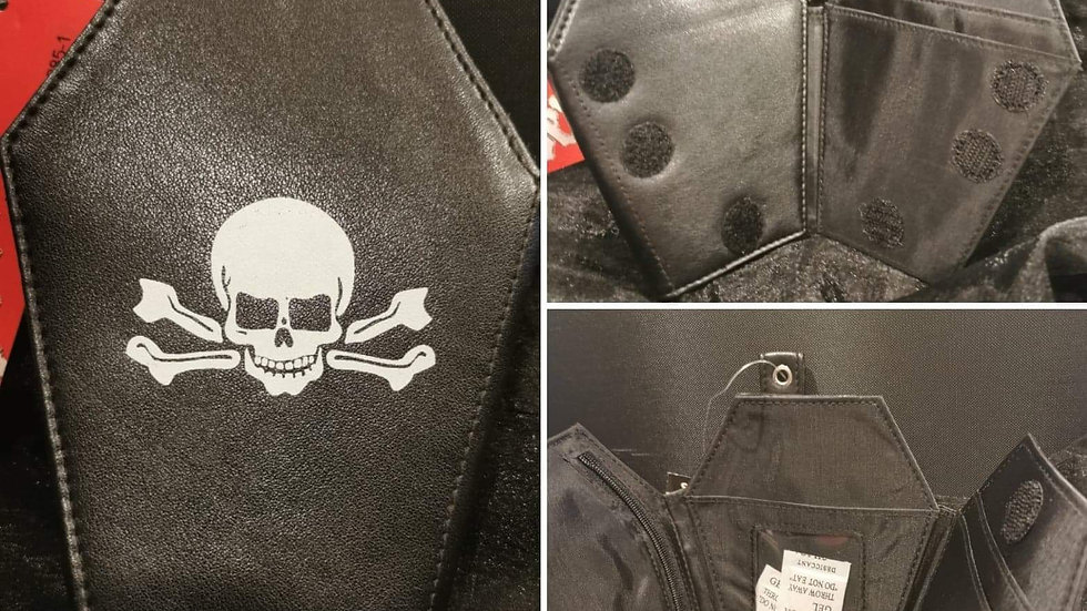 Coffin shape wallet leather