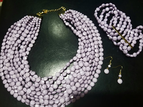 Lilac Bead Necklace Set