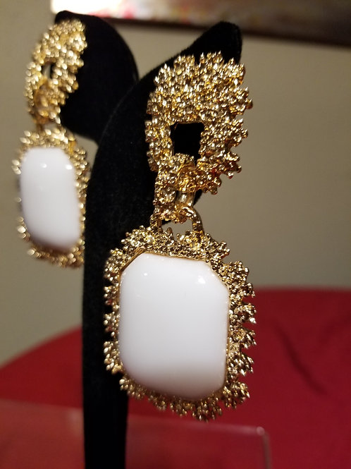 Bold White & Gold Earrings