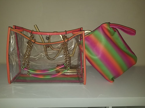 Striped Colorful Clear Bag set
