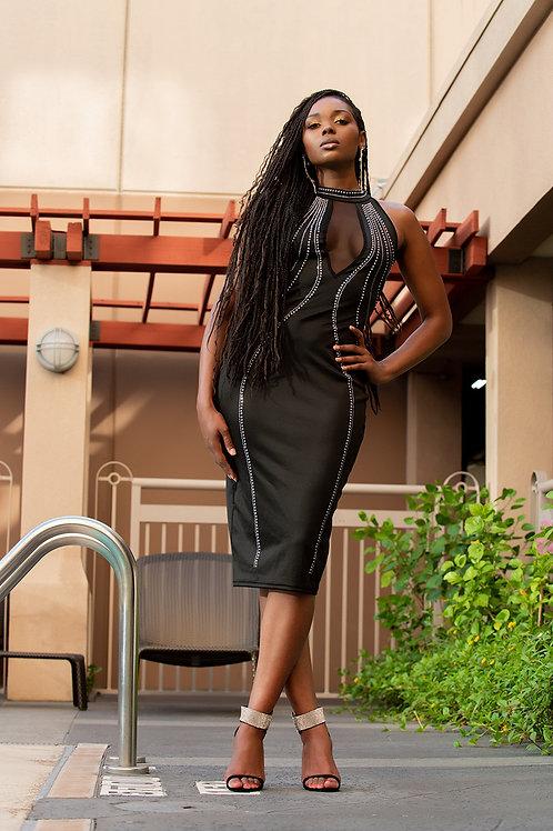 Black Rhinestone Dress