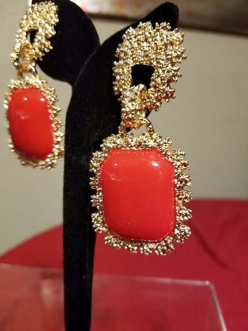 Bold Red & Gold Earrings