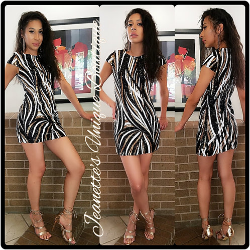 Black/Gold/White Sequence Dress