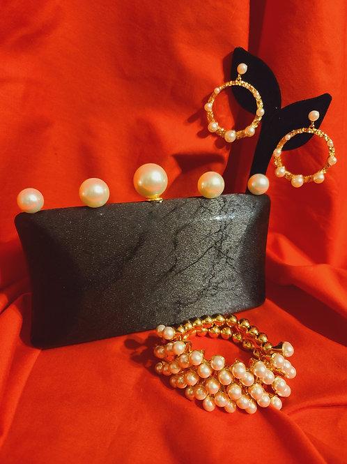 Pearl Clutch/Earrings & Braclet