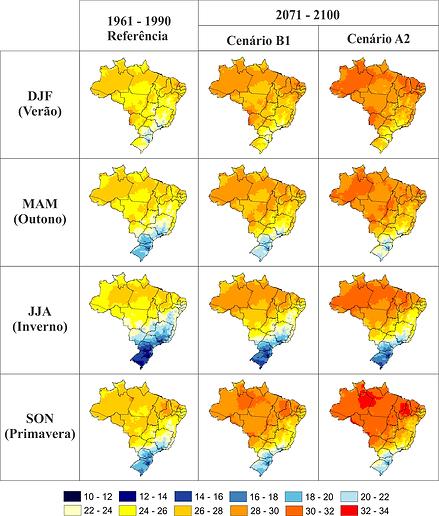 Anomalia de temperatura média da superfície global, terra e oceano combinadas, observada de 1850-2012, oriundas de três conjuntos de dados. Painel superior: valores de média anual. Painel inferior: valores médios decadais, incluindo a estimativa de incerte