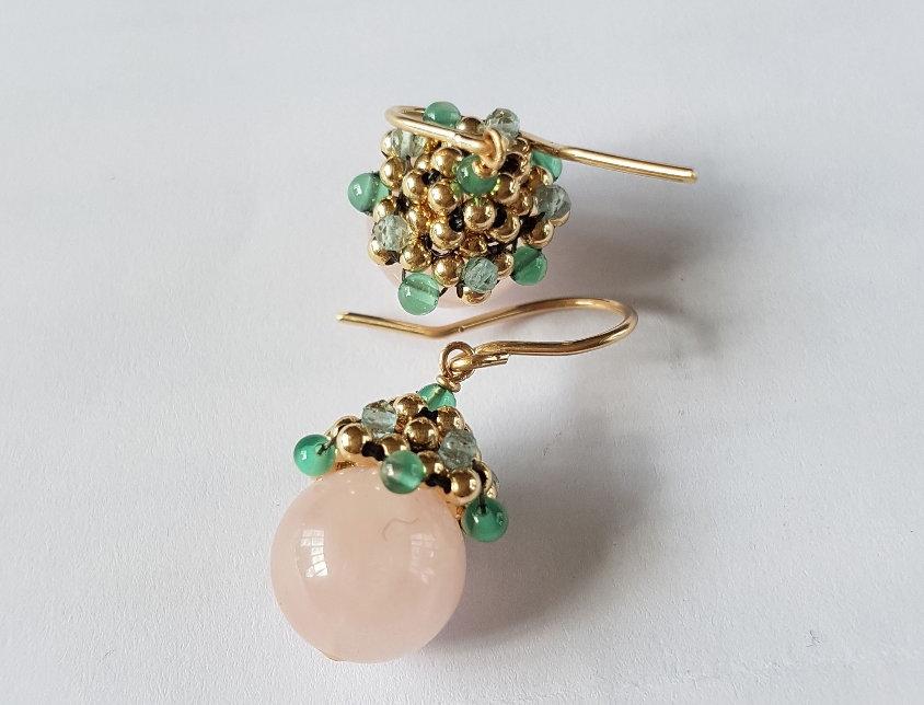 Rosequartz Acorn Earrings