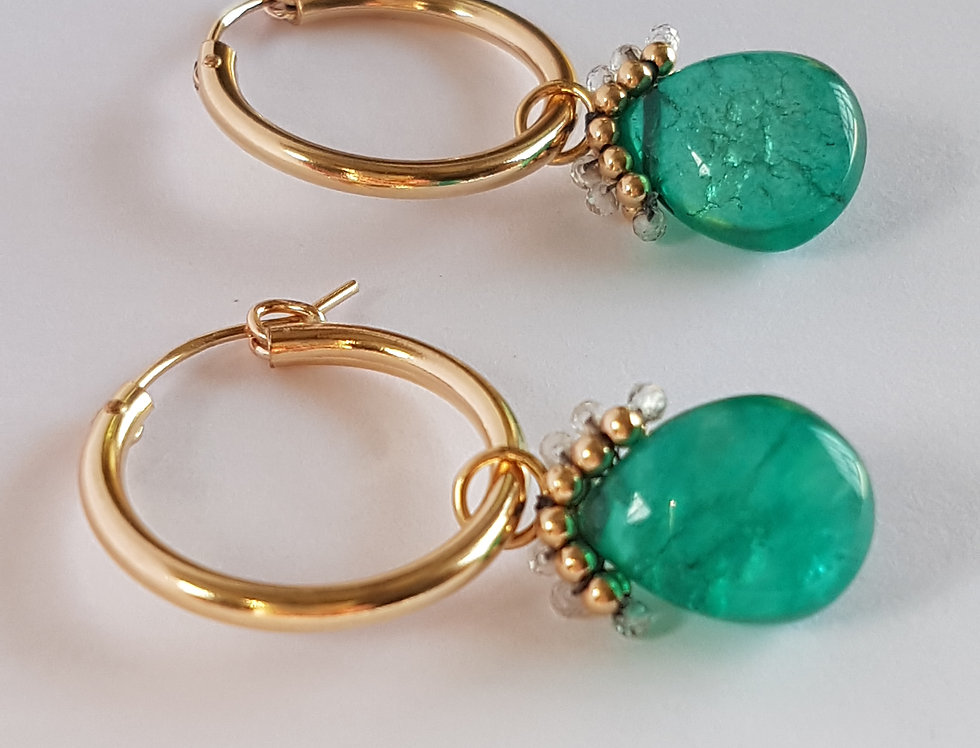 Green Large Hoops