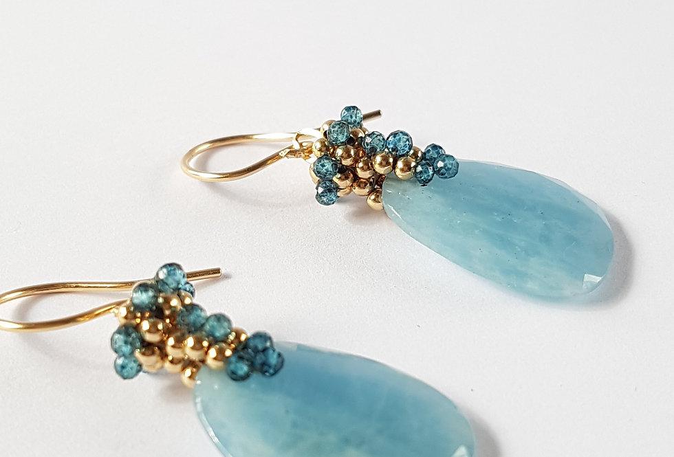 Aquamarine Slice Earrings