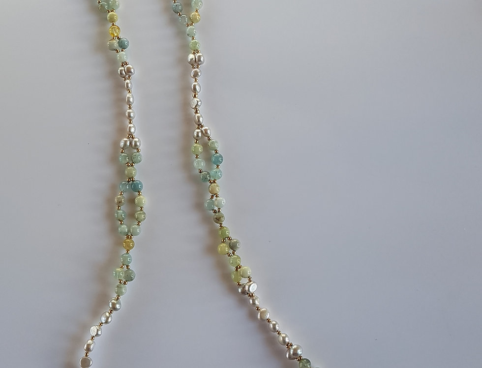 Large Aquamarine Yoga Necklace