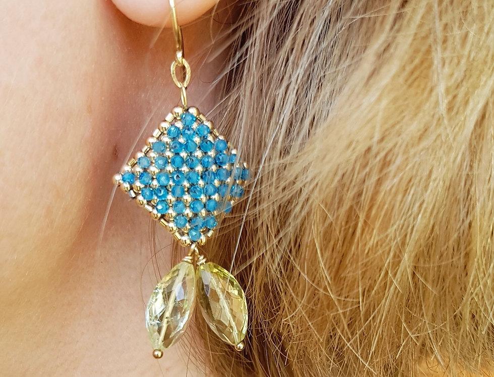 Apatite/Lemon Quartz Earrings