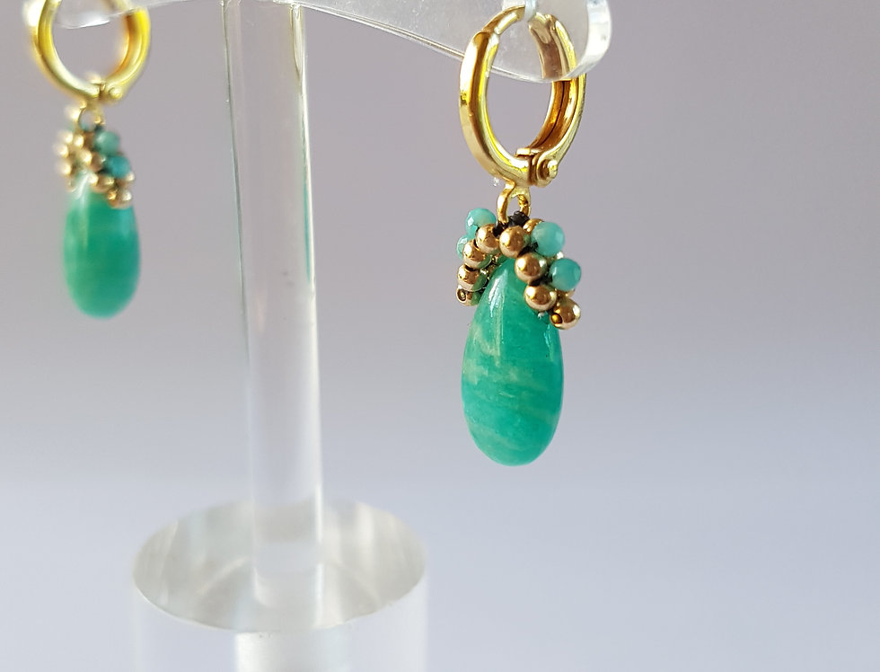 Amazonite Mini Hoops