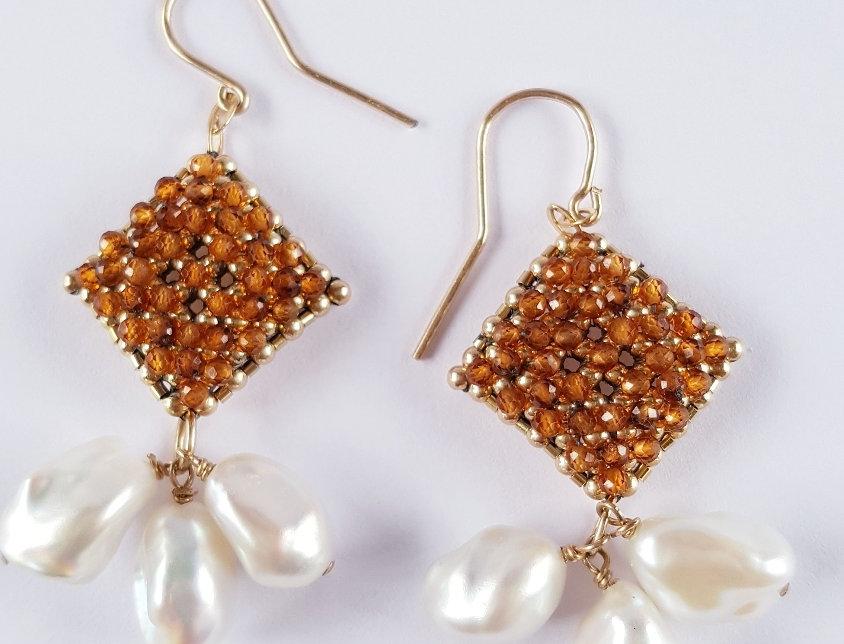 Hessonite/Pearl Earrings