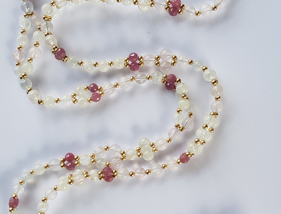 Moonstone/Rosequartz/Ruby Yoga Necklace