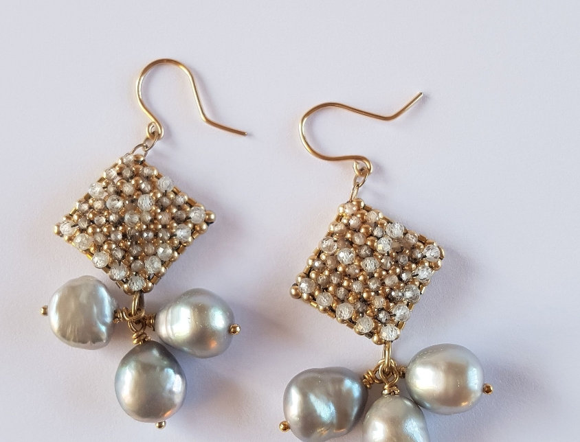 Topaz and Pearls Earrings