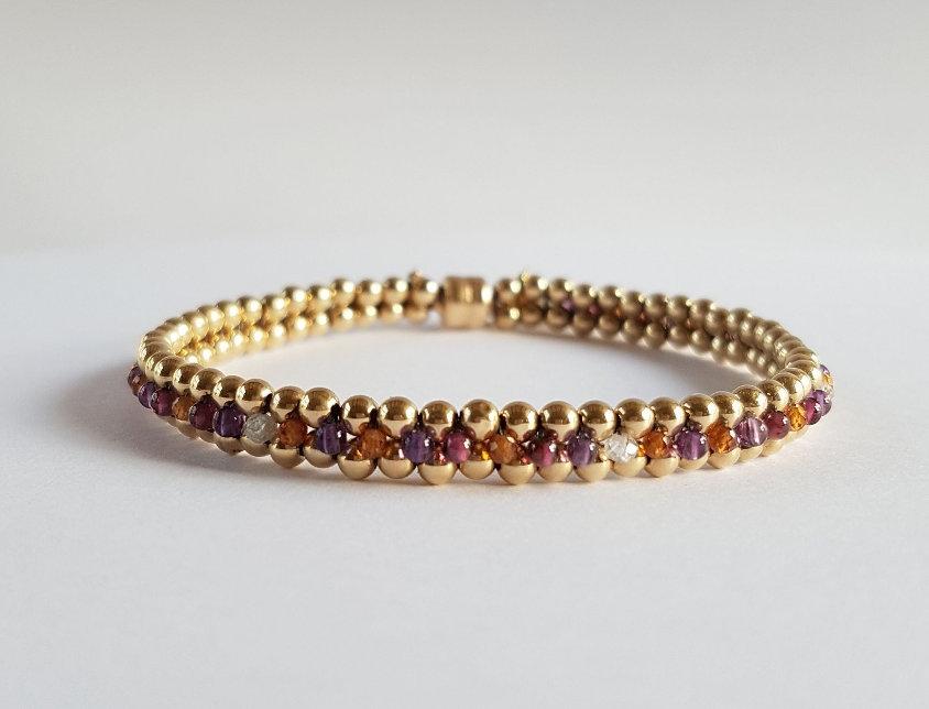Garnet/Amethyst Flat Bracelet