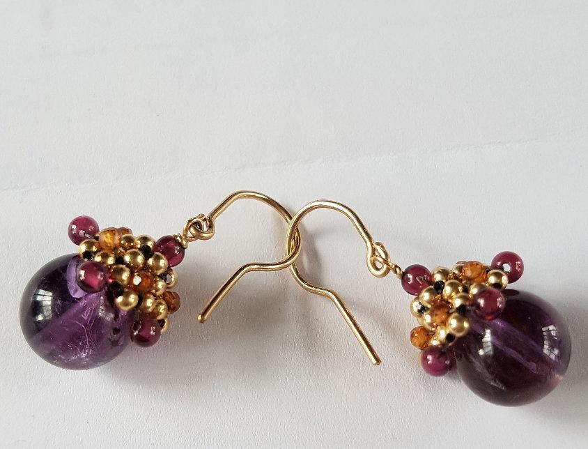Purple Rutilated Quartz Acorn Earrings