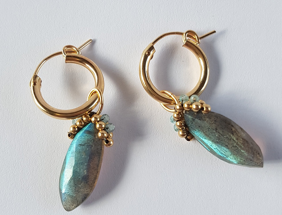Labradorite small Hoops