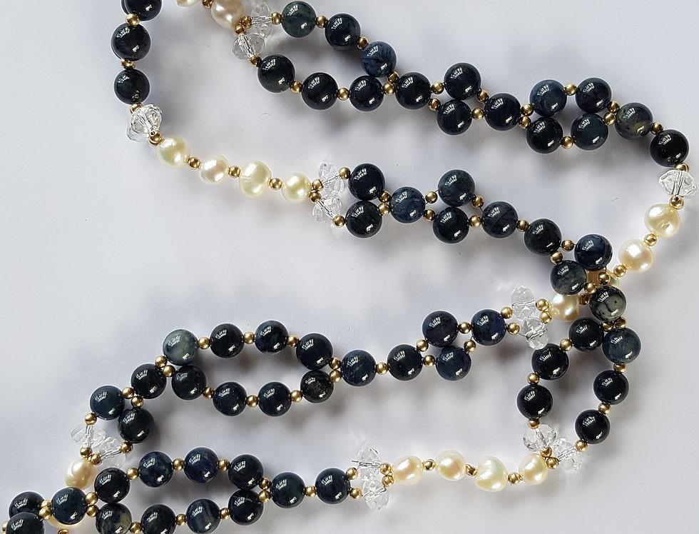 Dumortierite/Pearl Yoga Necklace