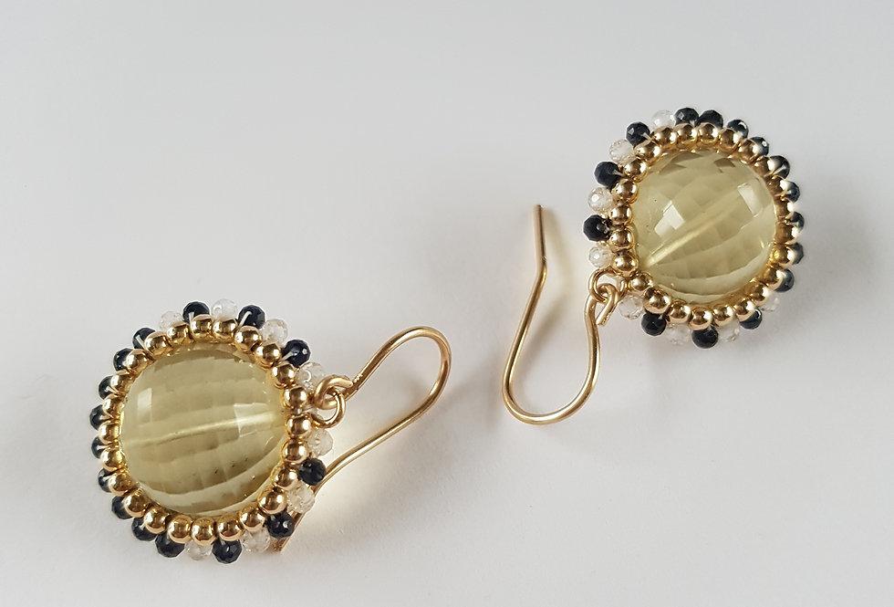 Lemon Quartz Disco Earrings