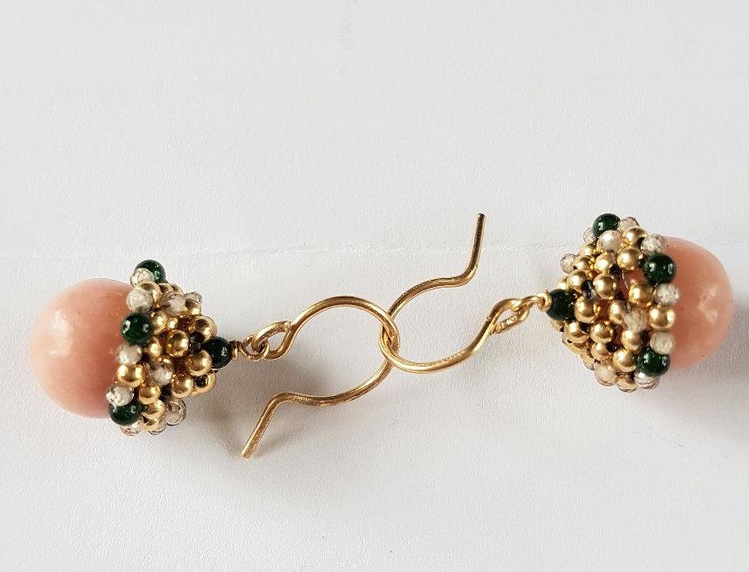 Pink Opal Acorn Earrings